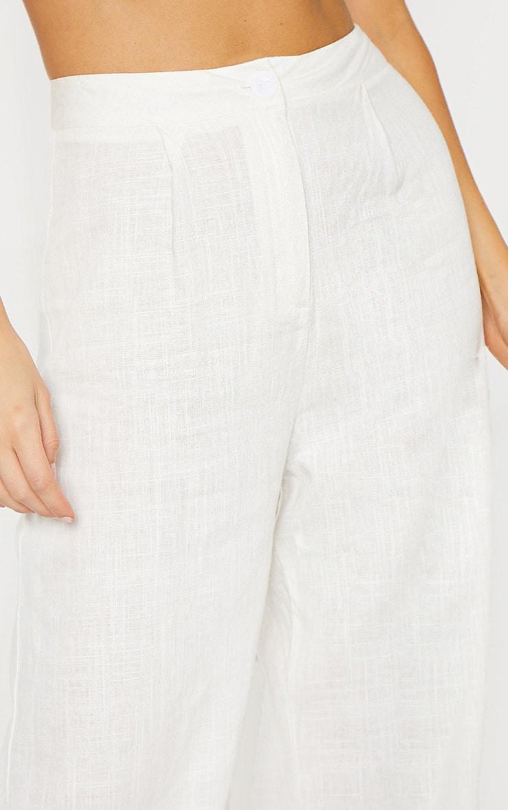 Tall White Wide Leg High Waist Pants 4