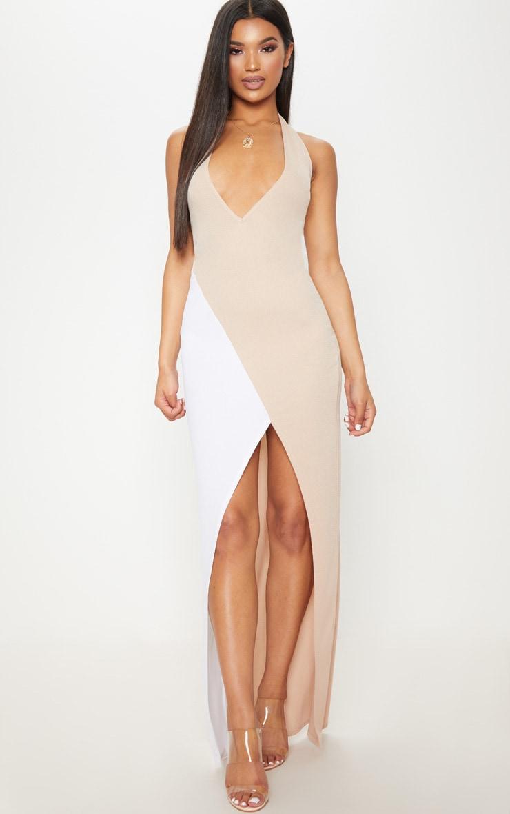 Nude Contrast Panel Extreme Split Maxi Dress 1