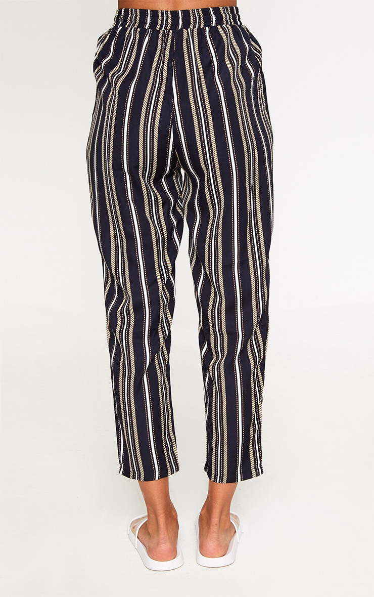 Black Multi Stripe Casual Trousers 4
