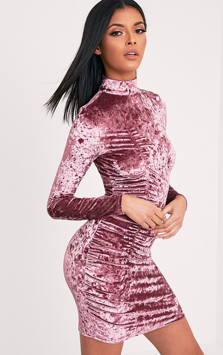 Lilli Dusty Pink Crushed Velvet High Neck Bodycon Dress 4