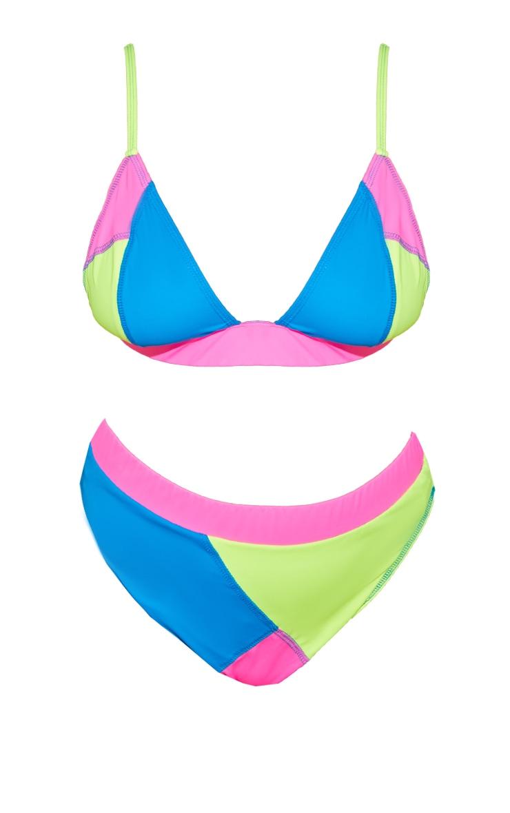 Plus Multi Patchwork Elastic Waist High Leg Bikini Bottoms 5
