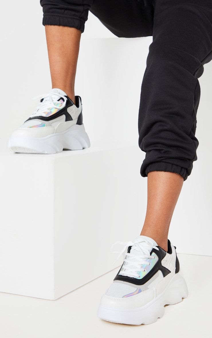 White Holographic Panel Lace Up Chunky Sneakers 2
