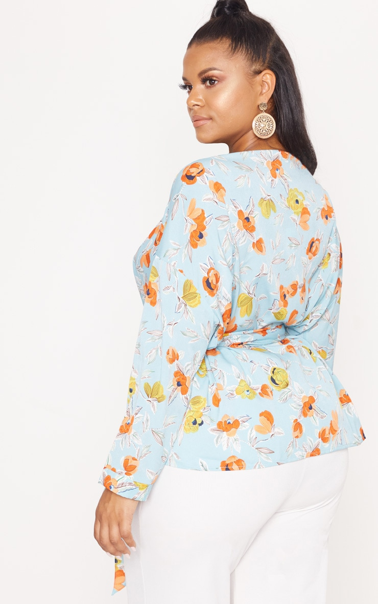 Plus Turquoise Floral Printed Tie Waist Blouse 2