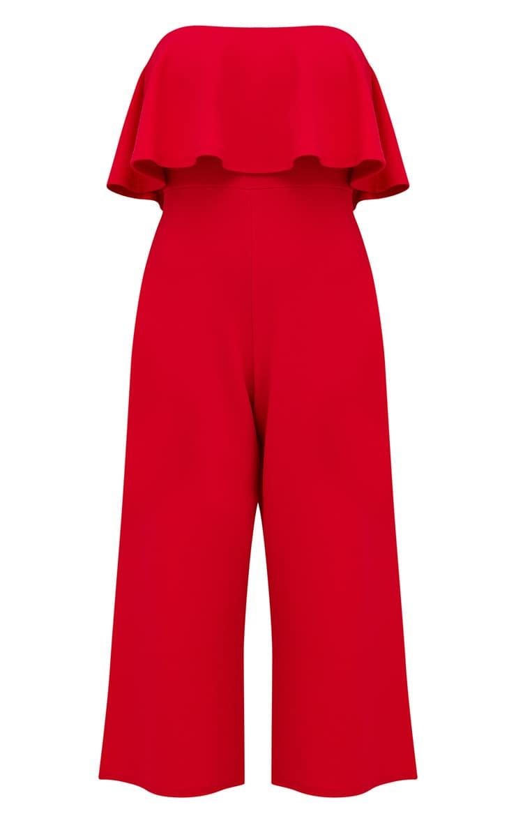 Red Bardot Double Layer Culotte Jumpsuit 3