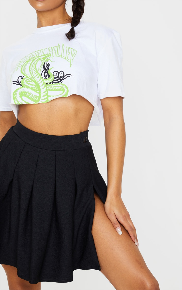 Black Pleated Side Split Tennis Skirt 6