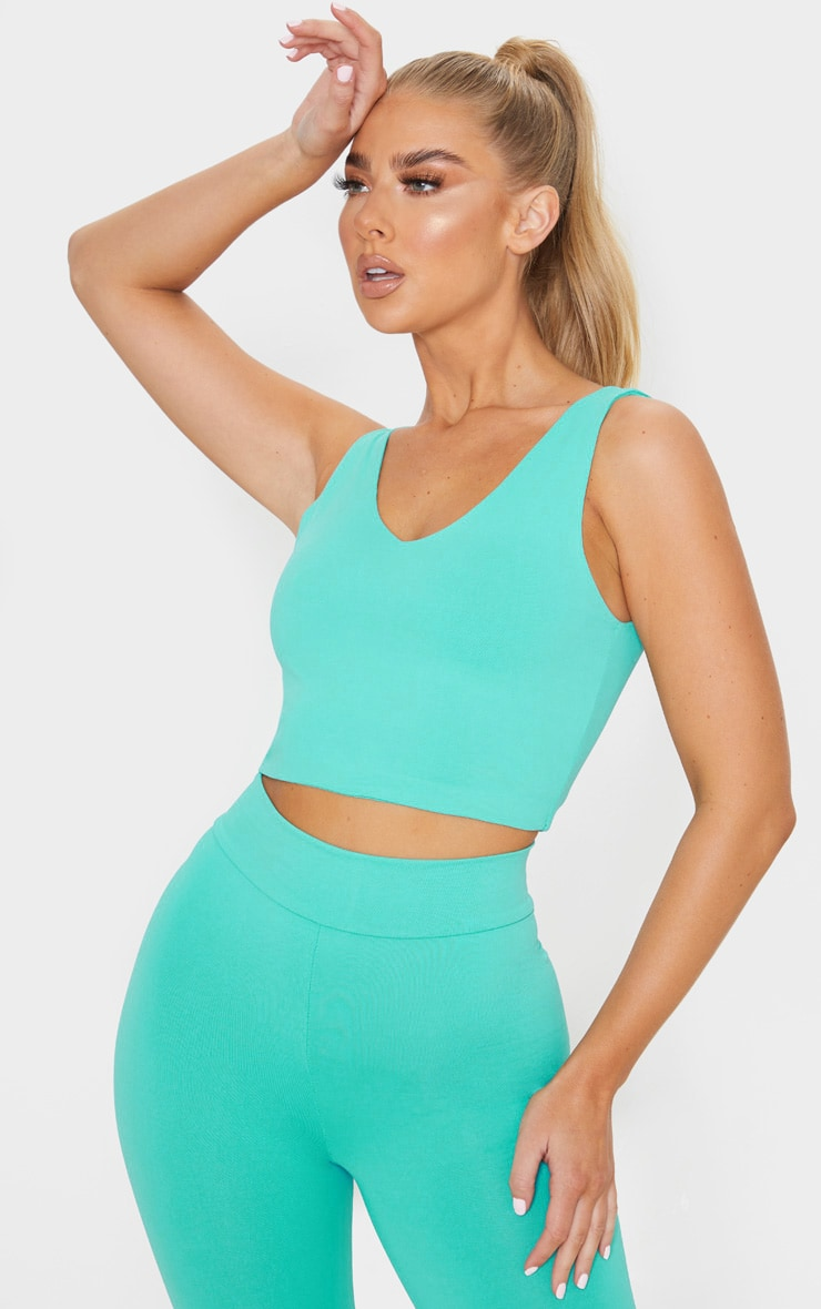 Turquoise Luxe Longline Cropped Sports Top 1