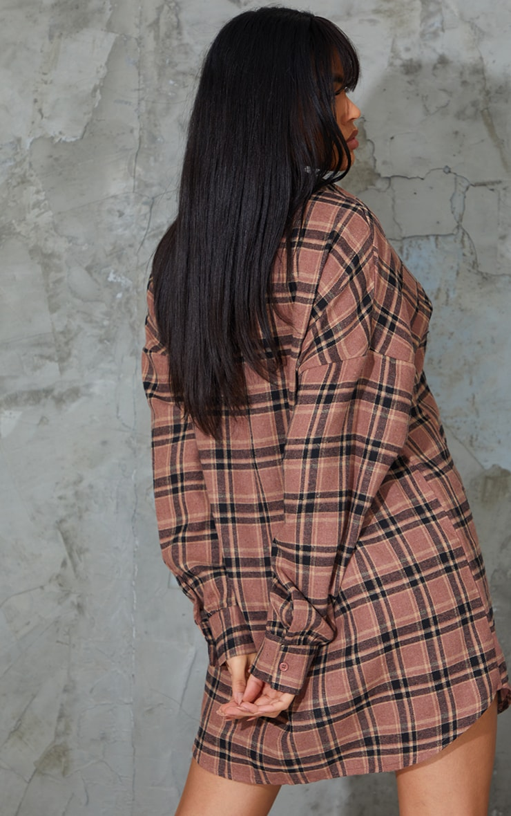 Chocolate Check Flannel Button Up Oversized Shirt Dress 2