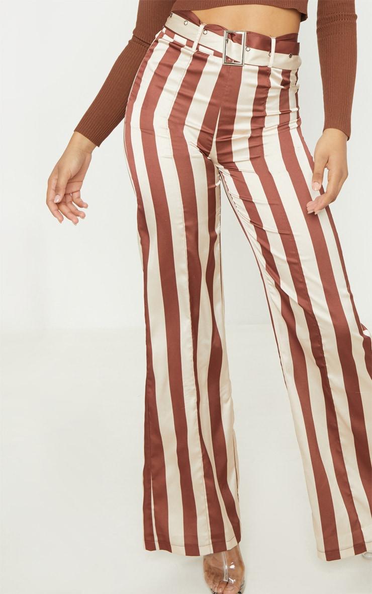 Tall - Pantalon évasé tissé marron chocolat à détail ceinture 5