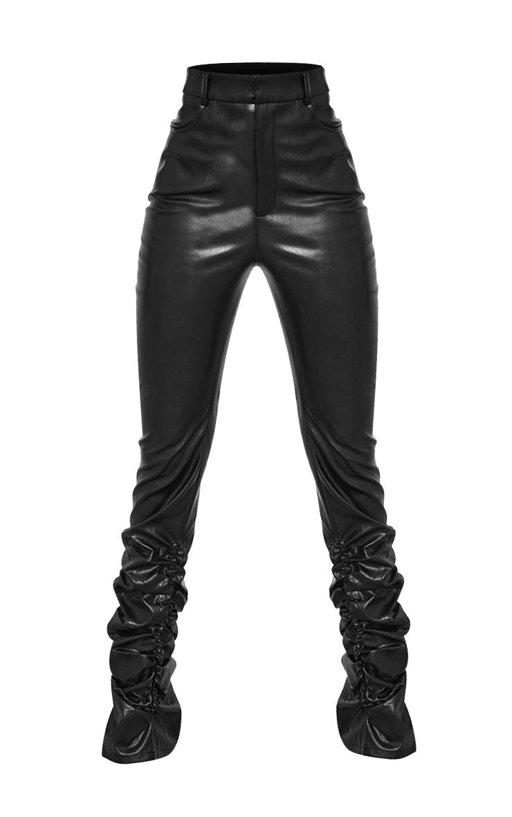 Tall Black Ruched Hem PU Pants 5
