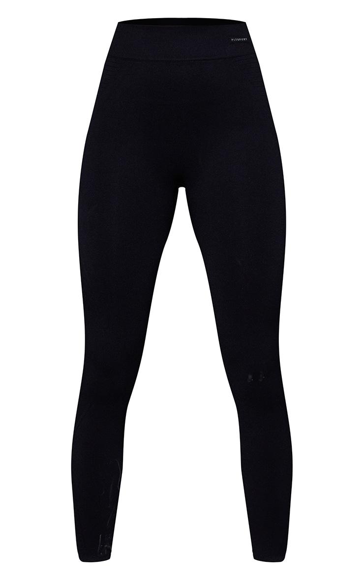 Black Seamless Rib Waist Gym Leggings 5