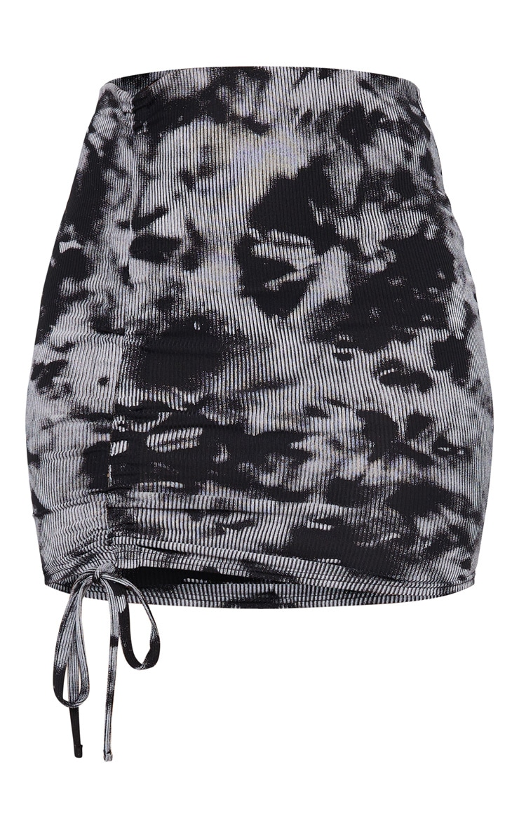 Black Tie Dye Rib Ruched Detail Mini Skirt 6