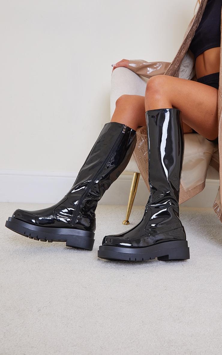 Black Pu Patent Calf High Chunky Sole Boots 2