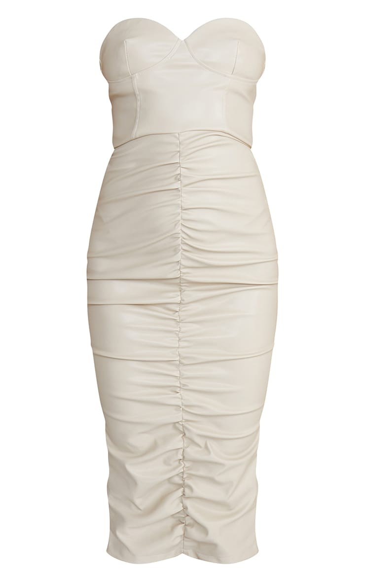 Stone PU Bandeau Ruched Front Midi Dress 5