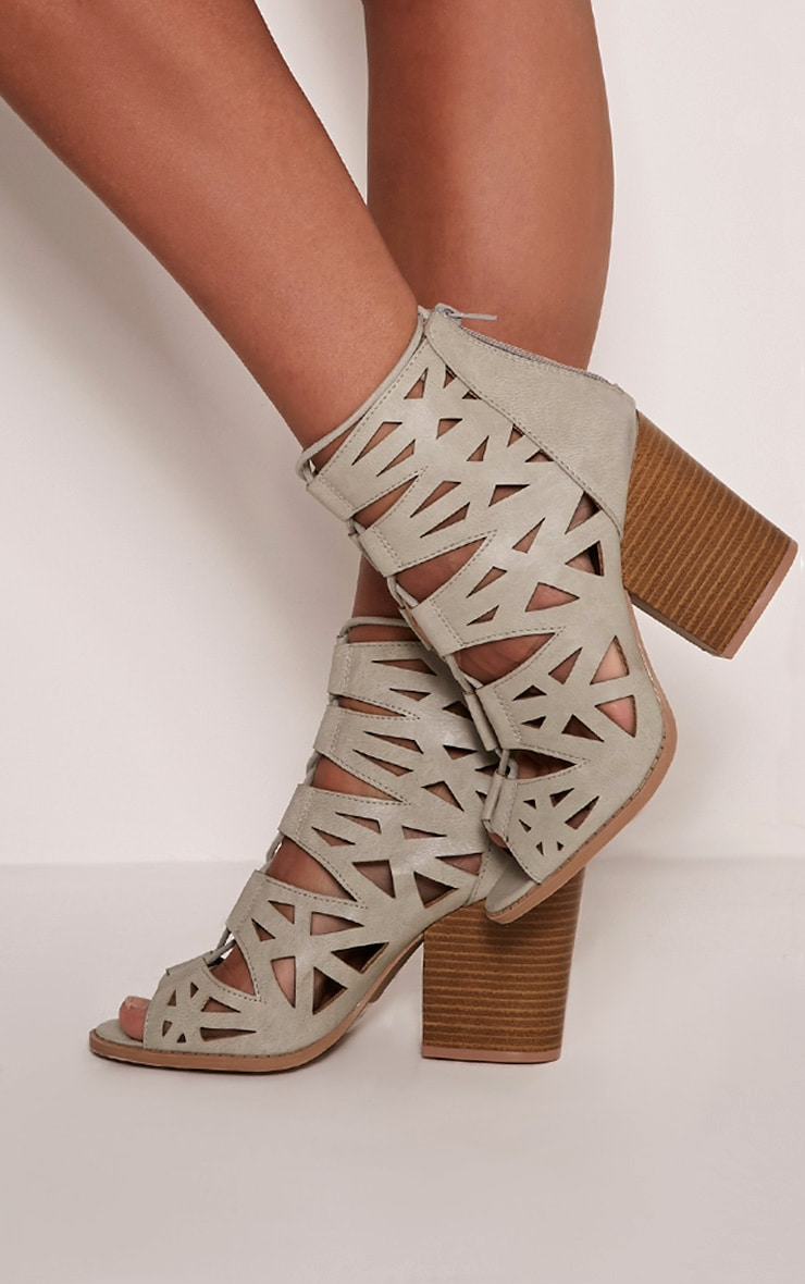 Keeley Grey Cut Out Lace Up Heeled Sandals 2