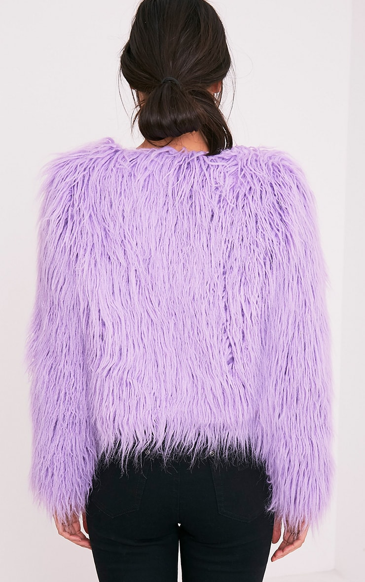 Liddie Lilac Faux Fur Shaggy Cropped Jacket 2