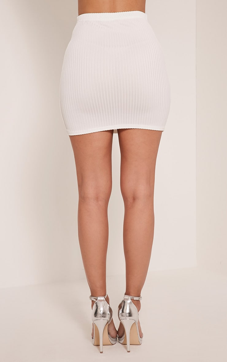 Kristine Cream Ribbed Mini Skirt 4
