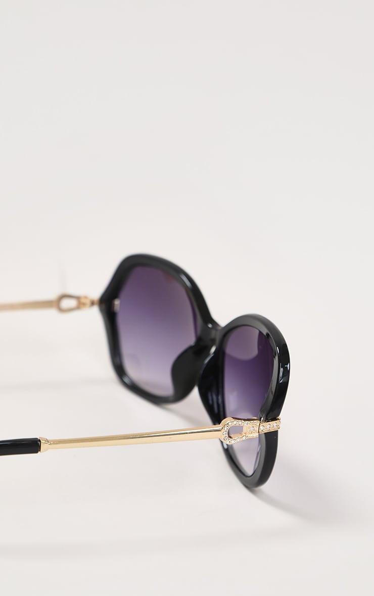 Black Diamante Buckle Detail Oversized Sunglasses 4