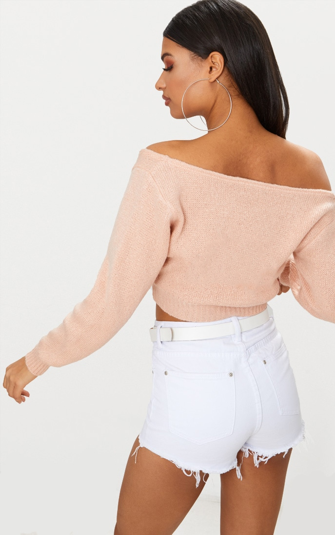 Nude V Neck Off Shoulder Knitted Cropped Jumper 2