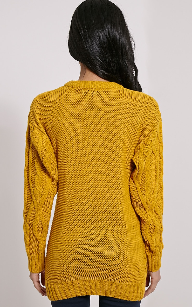 Moon Mustard Cable Knit Mid Jumper 2