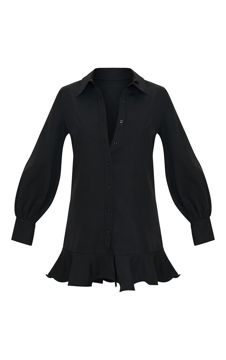 Black Frill Hem Shirt Dress 5