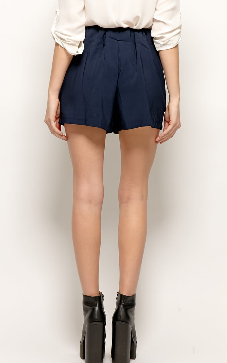 Montana Navy Pleated Shorts  2