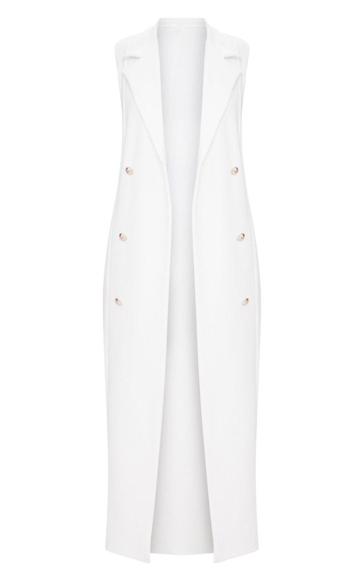 White Sleeveless Military Button Duster Jacket 3