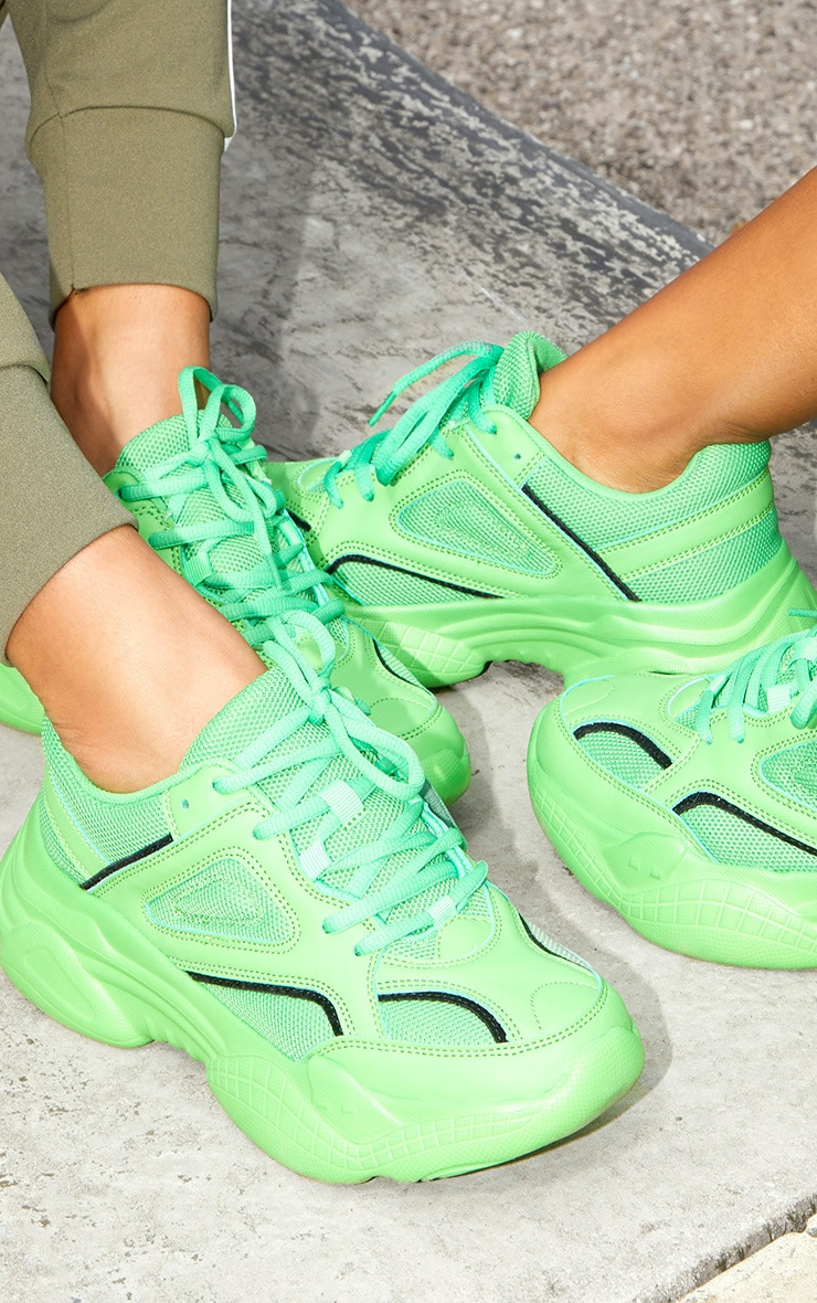 Green Reflective Panel Arch Sole Chunky Sneakers 2