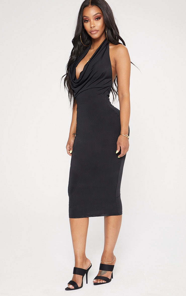 Shape Black Slinky Cowl Neck Midi Dress 4
