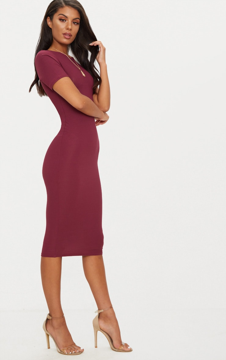 Burgundy Cap Sleeve Midi Dress  4