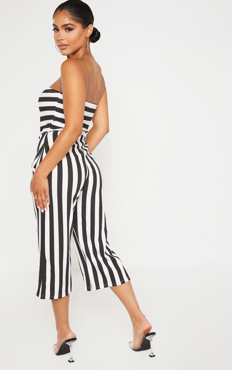 Petite Black Contrast Stripe Bandeau Culotte Jumpsuit 2