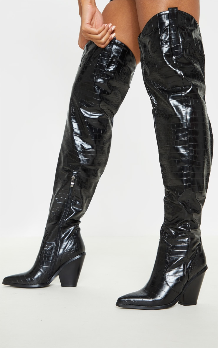 Black Thigh High Croc Western Boot 2