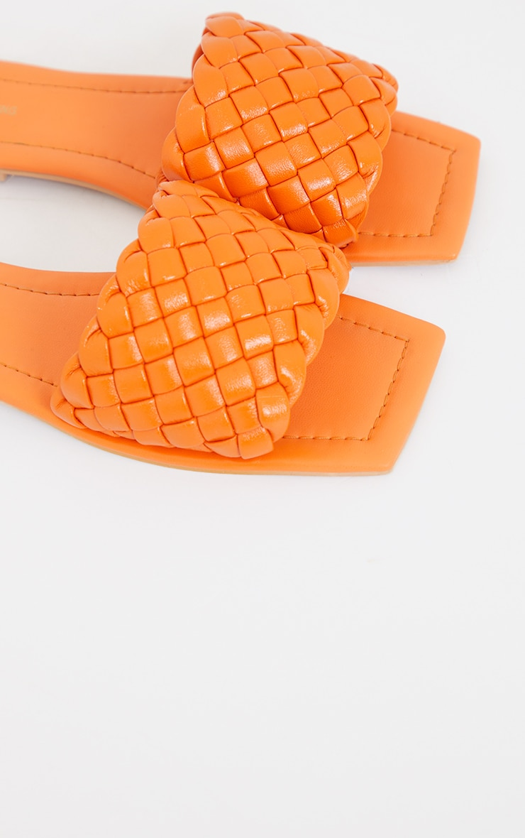 Burnt Orange Real Leather Square Toe Chunky Basket Weave Mule Sandals 4