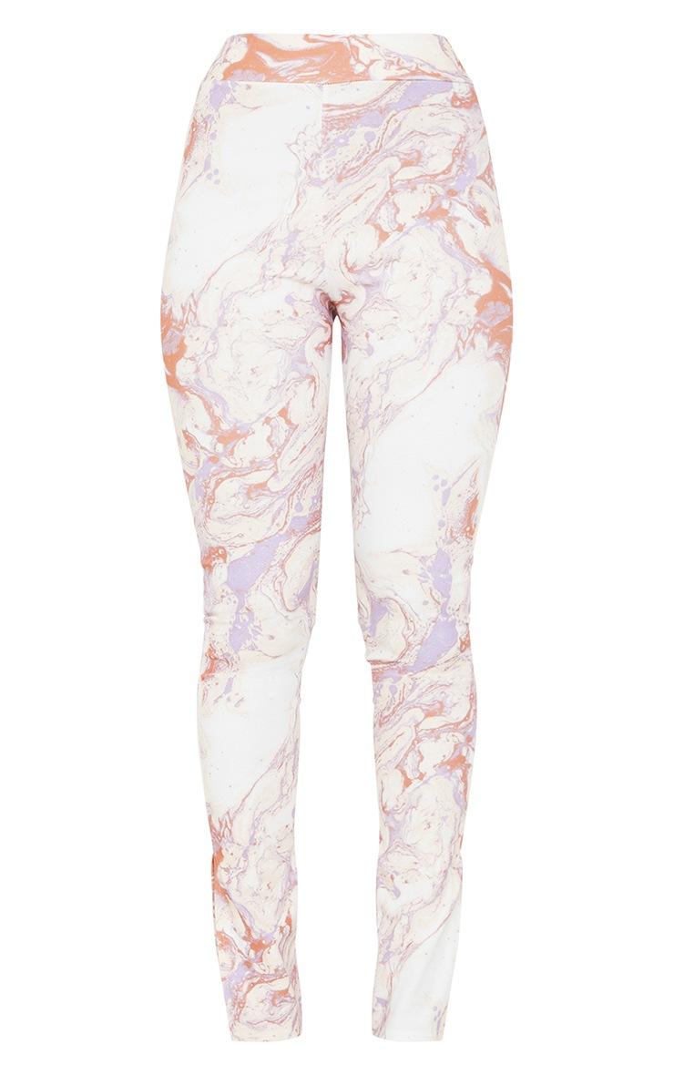 Cream Marble Print Scuba Split Hem Leggings 5