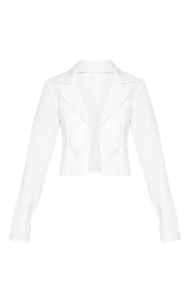 White Scuba Cropped Blazer 3