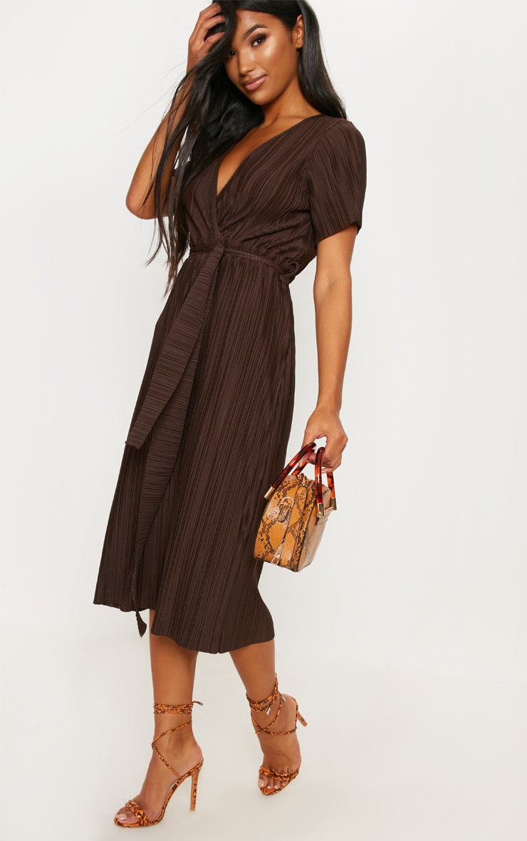Chocolate Pleated Midi Dress
