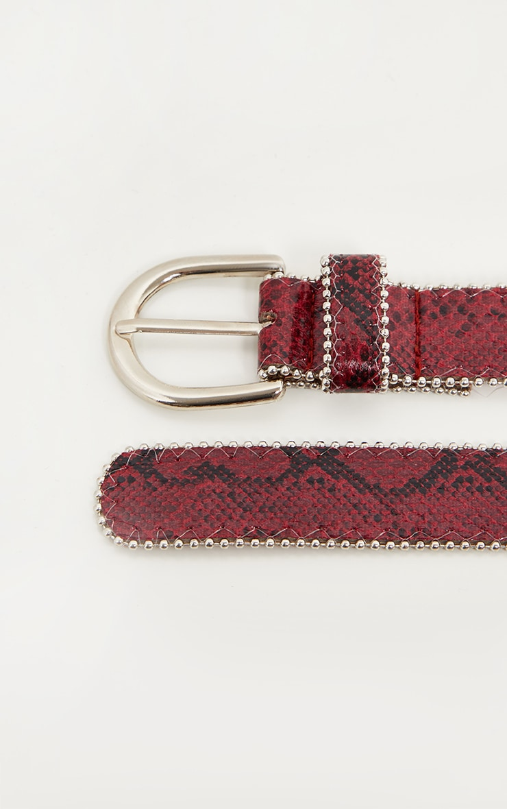 Burgundy Snake Print Ball Chain Belt 3