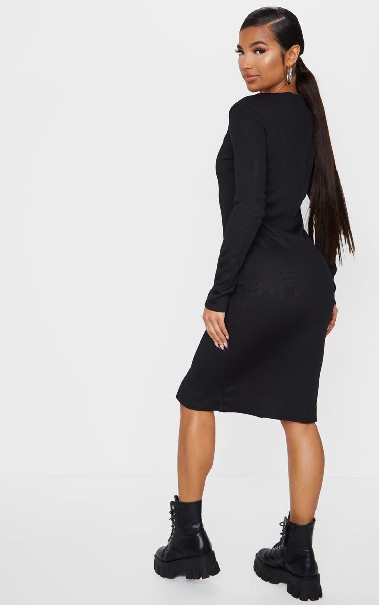 Black Jumbo Rib Double Zip Midi Dress 2