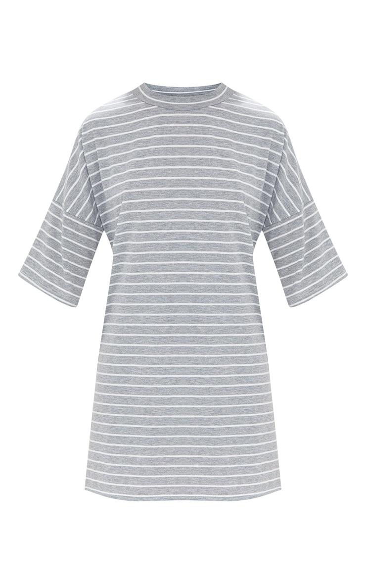 Recyled Grey Oversized Striped T Shirt Dress 3