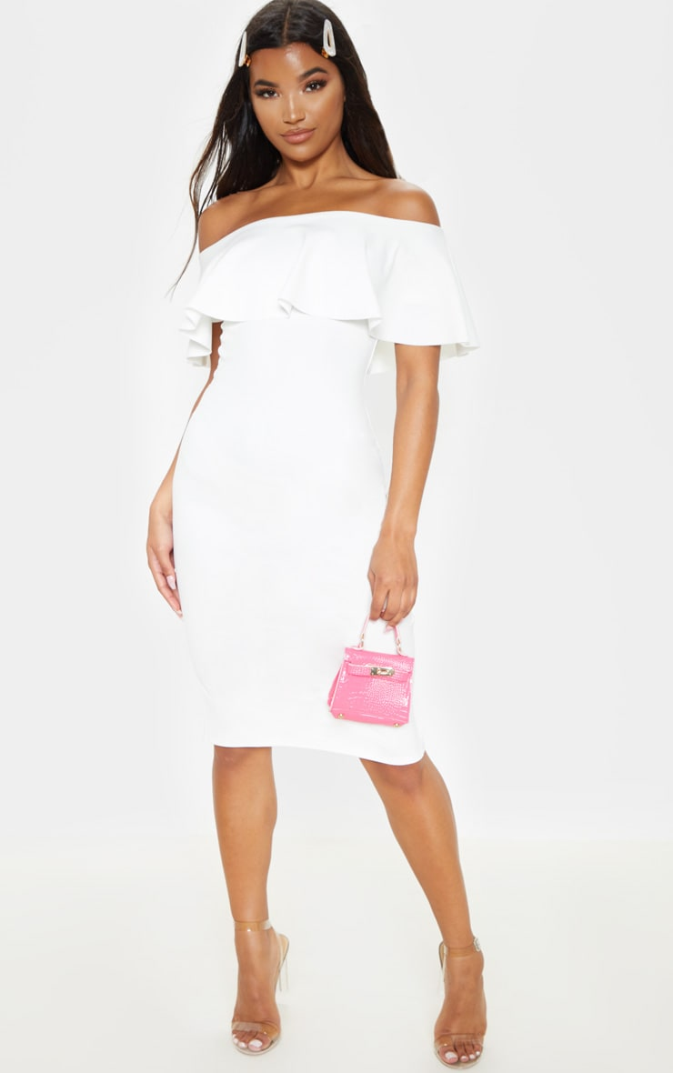Celinea White Bardot Frill Midi Dress 1