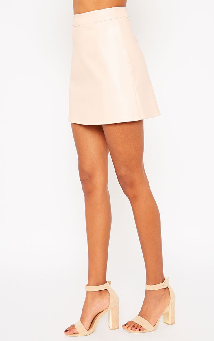 Rose Peach Faux Leather A-line Mini Skirt  3