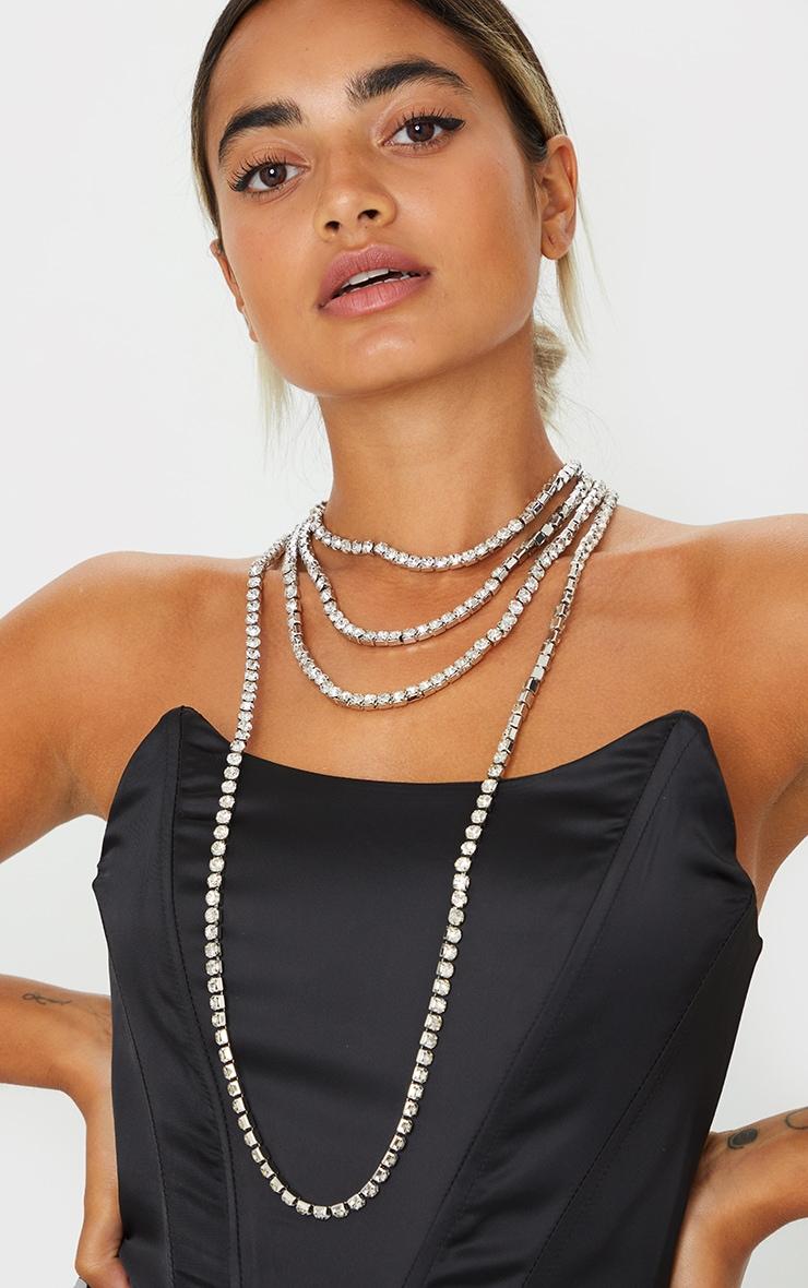 Silver Diamante Multi Layering Necklace 1