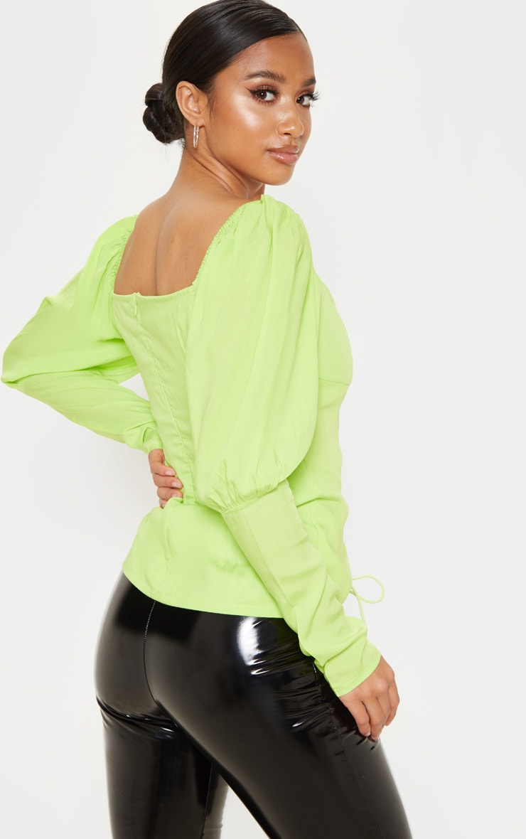 Petite Neon Lime Lace Up Cup Sleeve Puff Long Sleeve  Top 2
