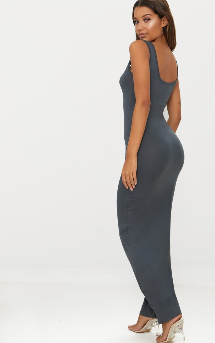 Charcoal Grey Basic Maxi Dress 2