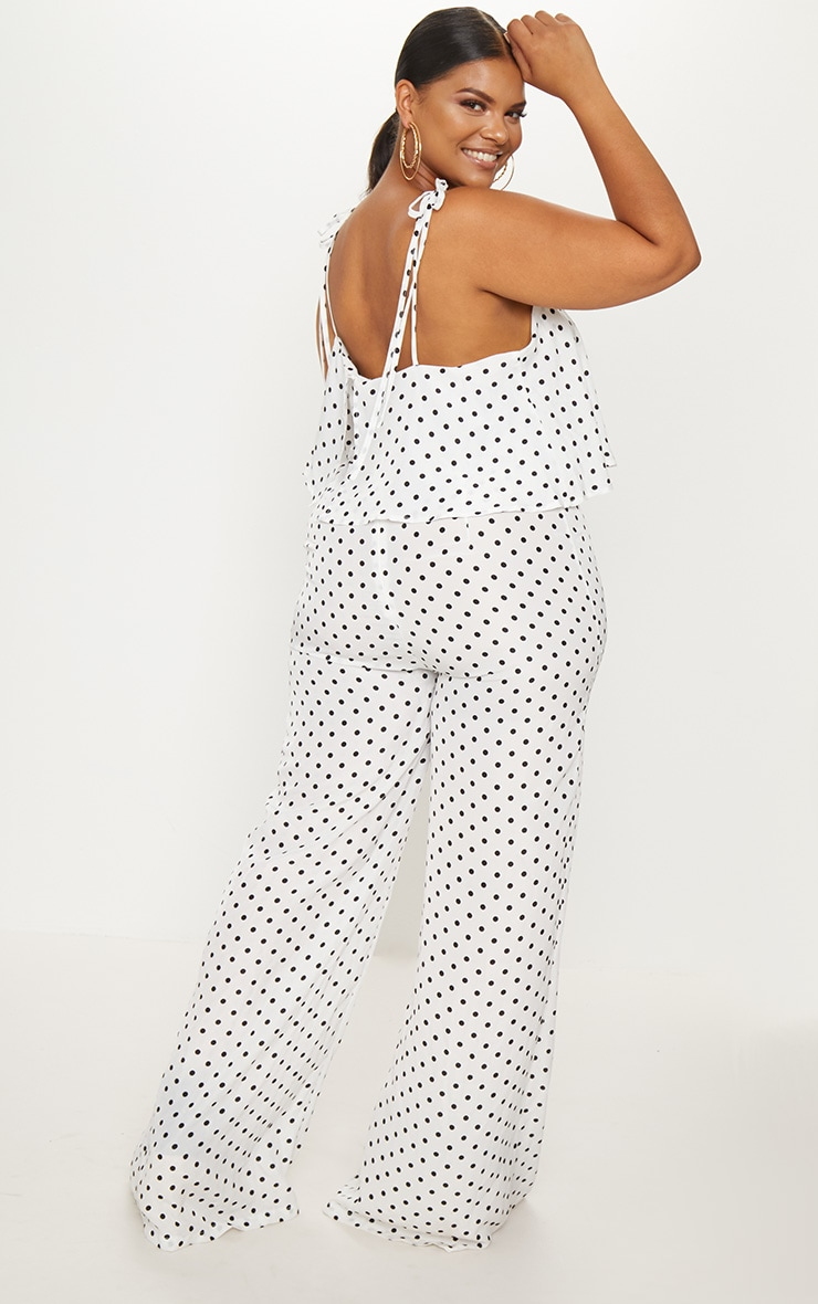 Plus White Polkadot Tie Strap Split Leg Jumpsuit 2