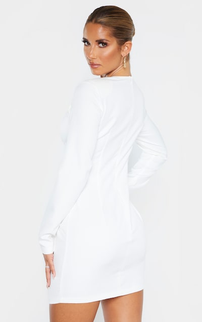 White Button Down Pocket Detail Bodycon Dress