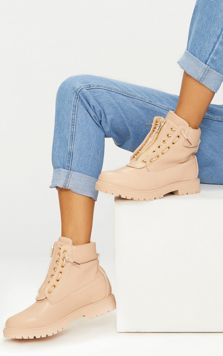 Michella Nude Zip Up Boots 1