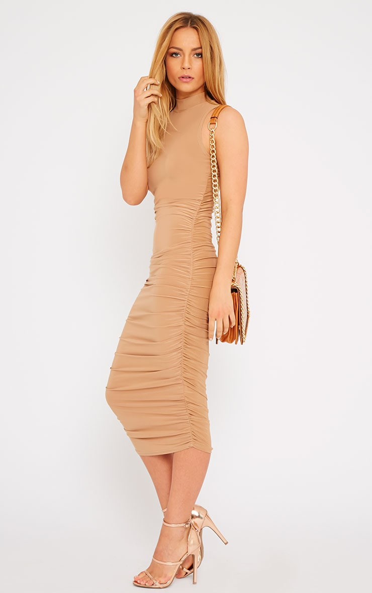 Alabama Camel High Neck Ruched Sides Dress 4