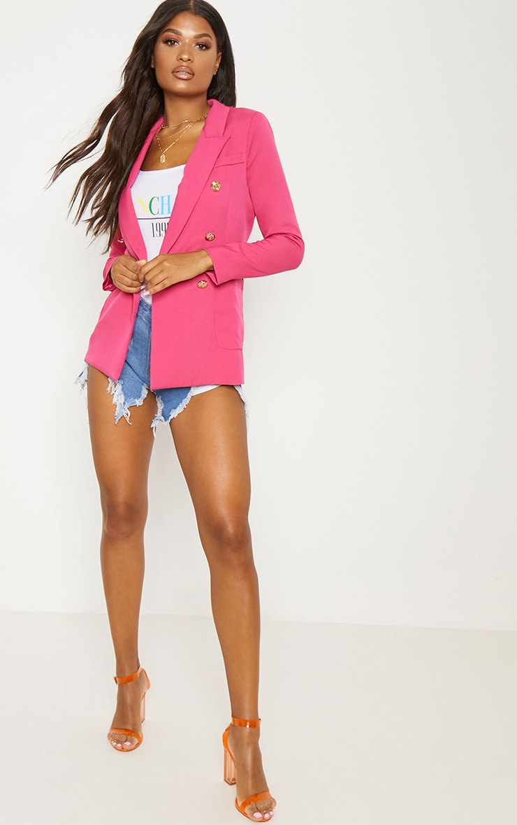 Pink Double Breasted Military Blazer  4
