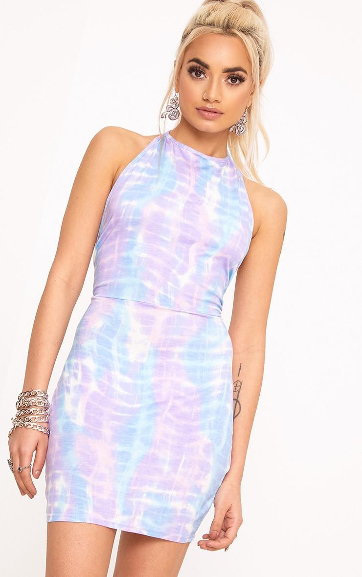 Lilac Tie Dye Strappy Halterneck Bodycon Dress 2