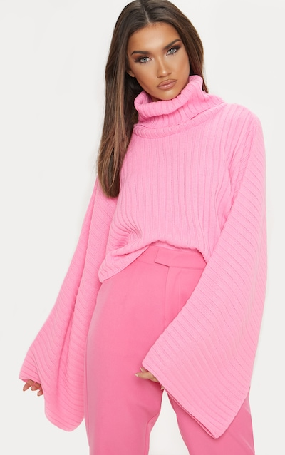 d208b03fdabd13 Pink Ribbed Knit High Neck Jumper